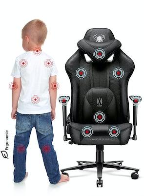 Kinder Schreibtischstuhl Diablo X-Player 2.0 Stoffbezug Kids Size: Schwarz
