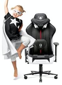 Fotel dziecięcy Diablo X-Player 2.0 materiałowy Kids Size: Biało-czarny