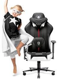 Kinder Schreibtischstuhl Diablo X-Player 2.0 Stoffbezug Kids Size: Schwarz-Weiß