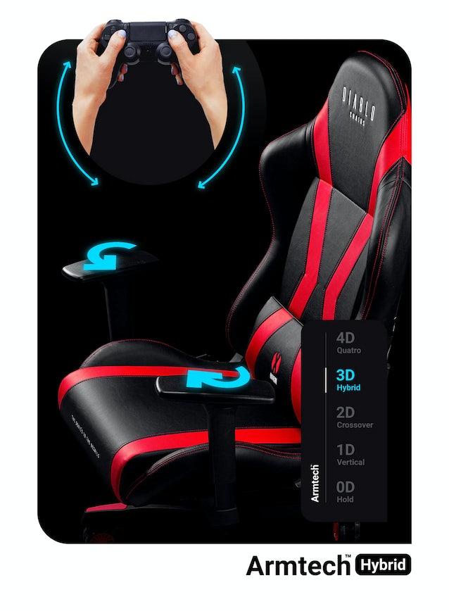 Fotel gamingowy Diablo X-Horn 2.0 King Size: Czarno-czerwony