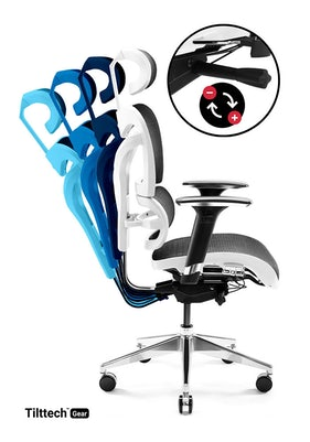 Scaun de birou Diablo V-Commander alb-negru Diablochairs