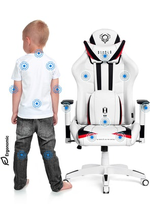 Detské otočné herné kreslo Diablo X-Ray Kids Size: bielo-čierne Diablochairs