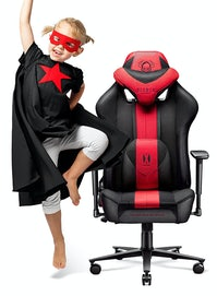 Kinder Schreibtischstuhl Diablo X-Player 2.0 Stoffbezug Kids Size: Karminrot-Anthrazit