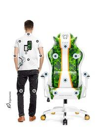 Herné kreslo Diablo X-One Craft Normal Size: Bielo-zelené Diablochairs