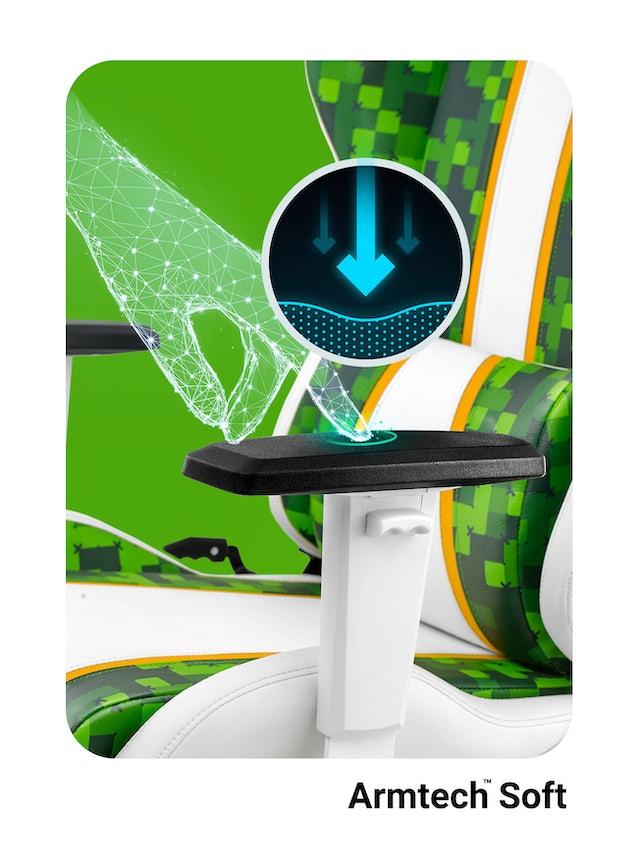 Diablo X-One Craft gamer szék Kids Size: Fehér-zöld Diablochairs