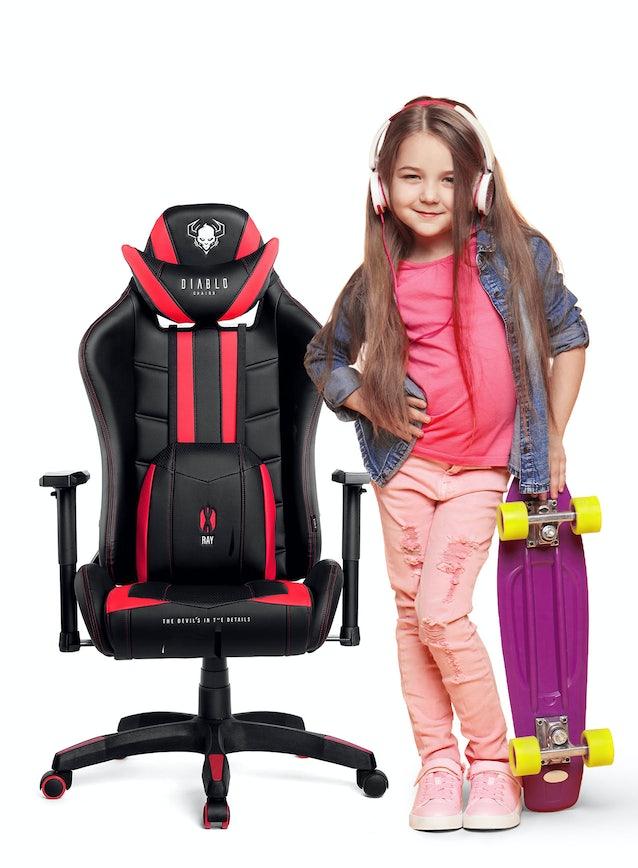 Diablo X-Ray forgatható gamer szék gyerekeknek Kids Size: Fekete-piros Diablochairs