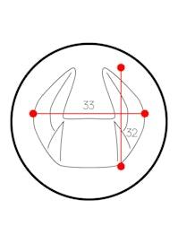 Personalisierte Kopfstütze Diablo Chairs X-Horn: Schwarz-Weiß
