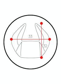 Personalisierte Kopfstütze Diablo Chairs X-Horn: Schwarz-Blau