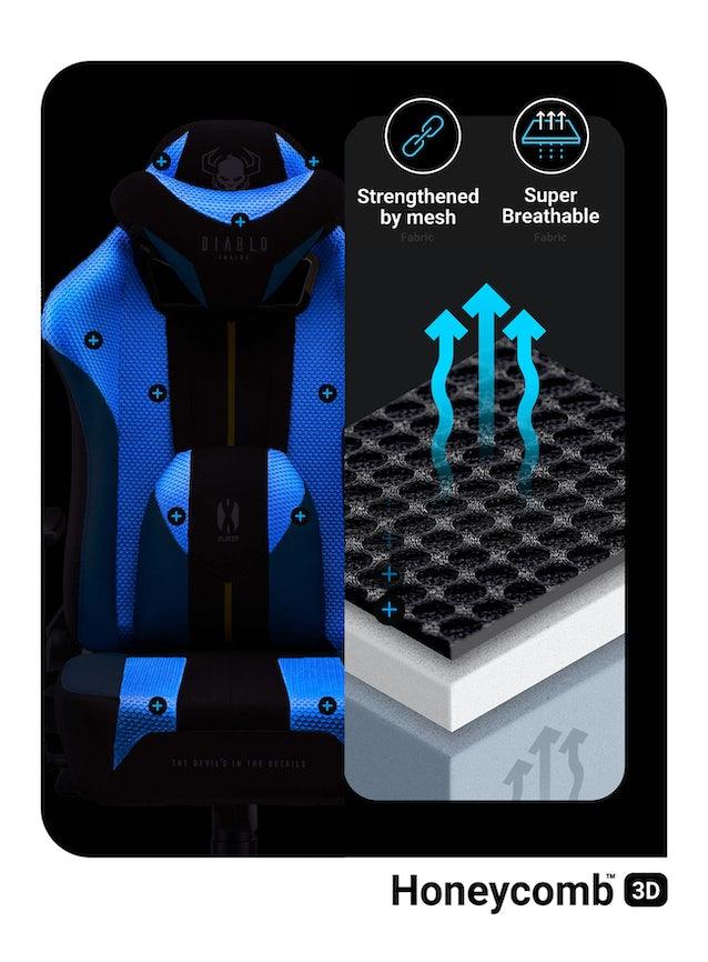 Kinder Schreibtischstuhl Diablo X-Player 2.0 mit Stoffbezug Frost Black: Kids Size