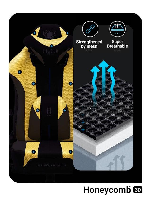 Gaming Stuhl Diablo X-Player 2.0 mit Stoffbezug King Size: Dark Sunflower
